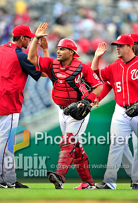 25 April 2010: Washington Nationals' catcher Ivan Rodriguez celebrates a win against the Los Angeles Dodgers to cap their 10 game homestand at Nationals Park in Washington, DC. The Nationals shut out the Dodgers 1-0 to take the rubber match of their 3-game series. Mandatory Credit: Ed Wolfstein Photo