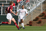 11 November 2008: NC State's Kris Byrd (9) and Virginia Tech's Taylor Walsh (left). North Carolina State University Wolfpack defeated the Virginia Tech Hokies 3-1 at Koka Booth Stadium at WakeMed Soccer Park in Cary, NC in a men's ACC tournament first round game.