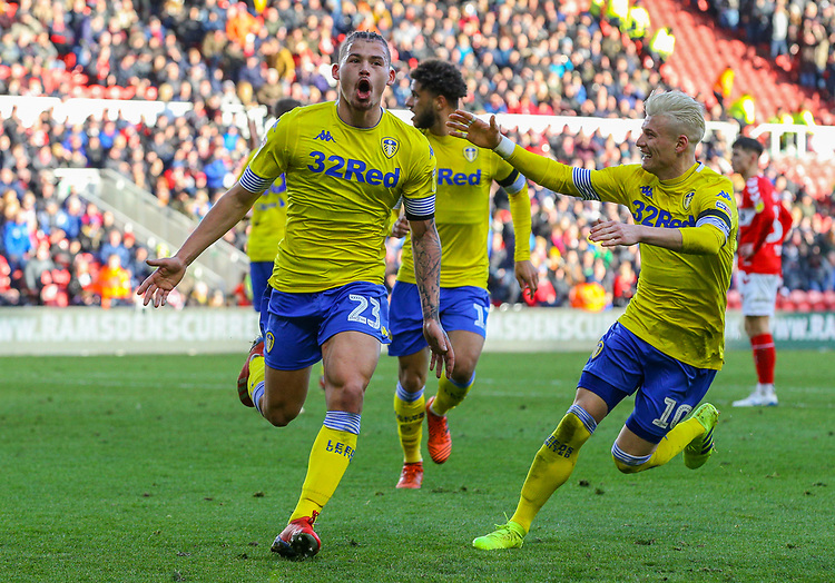 Leeds United's Kalvin Phillips celebrates scoring his side's equalising goal to make the score 1-1<br /> <br /> Photographer Alex Dodd/CameraSport<br /> <br /> The EFL Sky Bet Championship - Middlesbrough v Leeds United - Saturday 9th February 2019 - Riverside Stadium - Middlesbrough<br /> <br /> World Copyright &copy; 2019 CameraSport. All rights reserved. 43 Linden Ave. Countesthorpe. Leicester. England. LE8 5PG - Tel: +44 (0) 116 277 4147 - admin@camerasport.com - www.camerasport.com