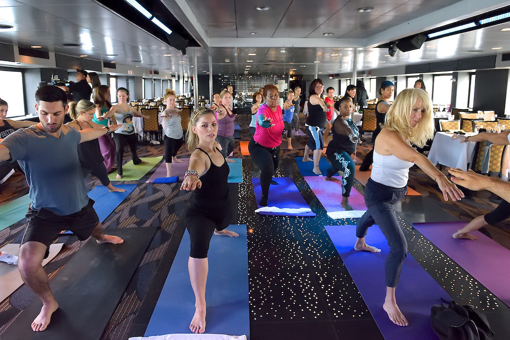A yoga cruise sponsored by Spirit Cruises.