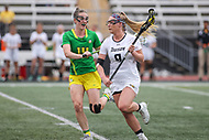 Towson, MD - March 25, 2017: Towson Tigers Shelby Stack (9) runs pass Oregon Ducks Bella Pyne (14) during game between Towson and Oregon at  Minnegan Field at Johnny Unitas Stadium  in Towson, MD. March 25, 2017.  (Photo by Elliott Brown/Media Images International)