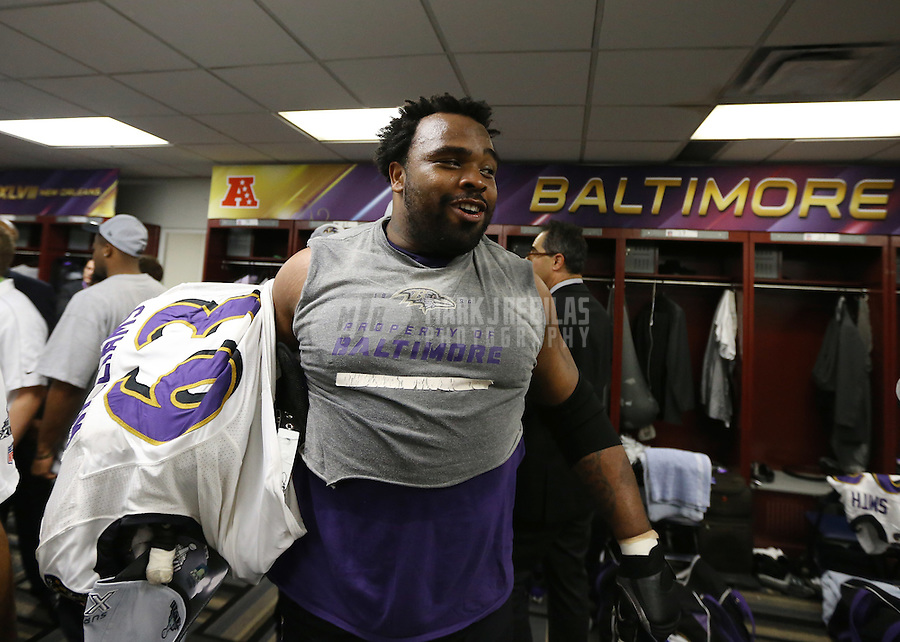 Feb 3, 2013; New Orleans, LA, USA; Baltimore Ravens guard Bobbie Williams celebrates in the locker room after defeating the San Francisco 49ers in Super Bowl XLVII at the Mercedes-Benz Superdome. Mandatory Credit: Mark J. Rebilas-