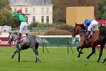 October 05, 2019, Paris (France) - Technician (7) with Pierre-Charles Boudot up wins the Qatar Prix Chaudenay (Gr II) on October 5 at ParisLongchamp Race Course. [Copyright (c) Sandra Scherning/Eclipse Sportswire)]