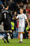 Lucas Vazquez of Real Madrid (R) talks to Goalkeeper Sergio Rico of Sevilla FC (L) during La Liga 2017-18 match between Real Madrid and Sevilla FC at Santiago Bernabeu Stadium on 09 December 2017 in Madrid, Spain. Photo by Diego Souto / Power Sport Images