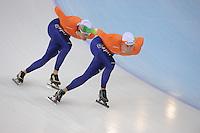 SPEEDSKATING: SOCHI: Adler Arena, 21-03-2013, Training, Hein Otterspeer (NED), Michel Mulder (NED), © Martin de Jong