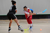 Singapore&rsquo;s Syafizah Safi in action during the World Floorball Championships 2017 Qualification for Asia Oceania Region - Singapore v Thailand at ASB Sports Centre , Wellington, New Zealand on Sunday 5 February 2017.<br /> Photo by Masanori Udagawa<br /> www.photowellington.photoshelter.com.