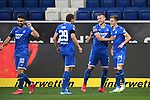 Torjubel nach dem 2-0: Munas Dabbur (Hoffenheim), Robert Skov (Hoffenheim), Pavel Kaderabek (Hoffenheim) und Torschuetze Christoph Baumgartner (Hoffenheim).<br /> <br /> Sport: Fussball: 1. Bundesliga: Saison 19/20: 28. Spieltag: TSG 1899 Hoffenheim - 1. FC Koeln, 27.05.2020<br /> <br /> Foto: Markus Gilliar/GES/POOL/PIX-Sportfotos.<br /> <br /> Nur für journalistische Zwecke! Only for editorial use!<br /> <br /> Gemäß den Vorgaben der DFL Deutsche Fußball Liga ist es untersagt, in dem Stadion und/oder vom Spiel angefertigte Fotoaufnahmen in Form von Sequenzbildern und/oder videoähnlichen Fotostrecken zu verwerten bzw. verwerten zu lassen. DFL regulations prohibit any use of photographs as image sequences and/or quasi-video.