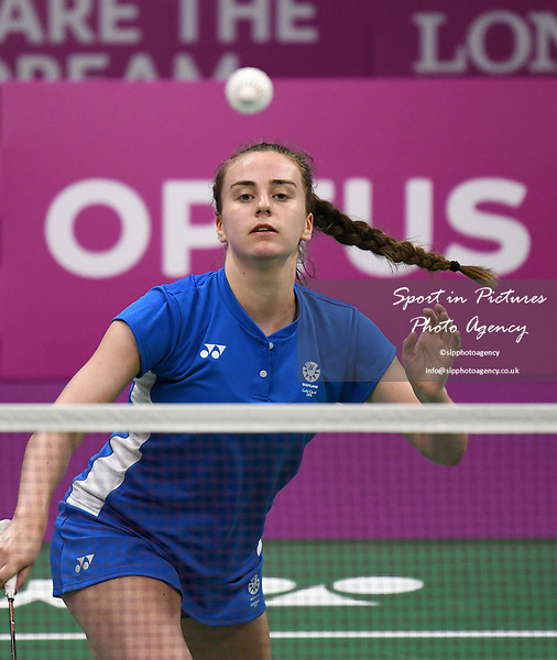 Eleanor O'DONNELL (SCO) in the mixed doubles. Badminton. Mixed team event. XXI Commonwealth games. Carrara Sports hall 2. Gold Coast 2018. Queensland. Australia. 05/04/2018. ~ MANDATORY CREDIT Garry Bowden/SIPPA - NO UNAUTHORISED USE - +44 7837 394578