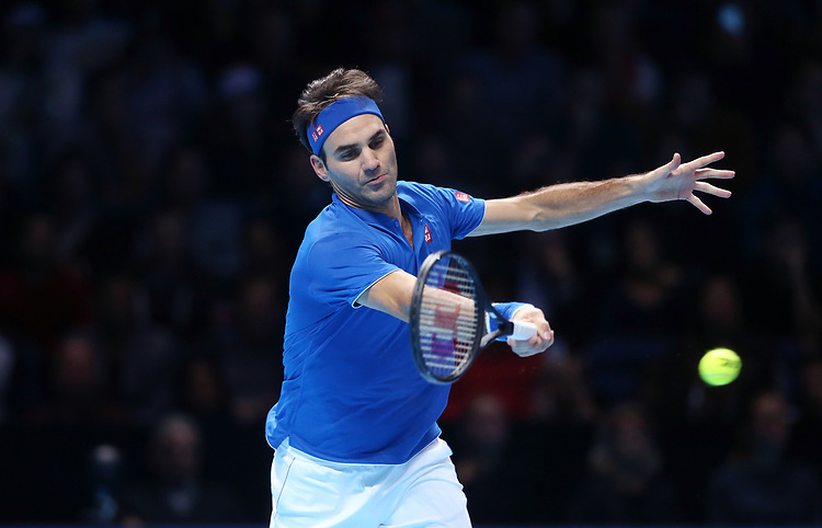 Roger Federer (SUI) in action against Dominic Thiem (AUT) in their Group Lleyton Hewitt match<br /> <br /> Photographer Rob Newell/CameraSport<br /> <br /> International Tennis - Nitto ATP World Tour Finals Day 3 - O2 Arena - London - Tuesday 13th November 2018<br /> <br /> World Copyright © 2018 CameraSport. All rights reserved. 43 Linden Ave. Countesthorpe. Leicester. England. LE8 5PG - Tel: +44 (0) 116 277 4147 - admin@camerasport.com - www.camerasport.com