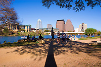 The Stevie Ray Vaughan Statue on Town Lake is very popular for lunch, musicians, jam sessions; off-road bicycling, outdoor running, and strolling through Lake Austin by foot.