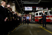 United States President Barack Obama speaks to members of the FDNY at Engine 54 Fire House days after Osama Bin Laden was killed by U.S. Navy Seals almost 10 years after the terrorist attacks on the World Trade Center in New York on May 5, 2011.    .Credit: John Angelillo / Pool via CNP