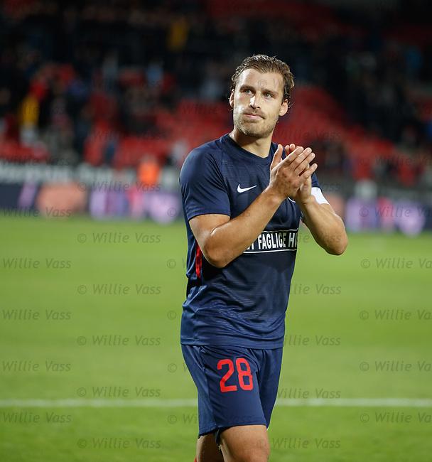 08.08.2019 FC Midtjylland v Rangers: Erik Sviatchenko troops off at full time