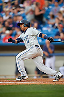 West Michigan Whitecaps shortstop Isaac Paredes (11) follows through on a swing during the second game of a doubleheader against the Lake County Captains on August 6, 2017 at Classic Park in Eastlake, Ohio.  West Michigan defeated Lake County 9-0.  (Mike Janes/Four Seam Images)