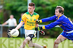Brandon Hoare Castlegregory James O'Reilly Beaufort  in action in Beaufort on Sunday
