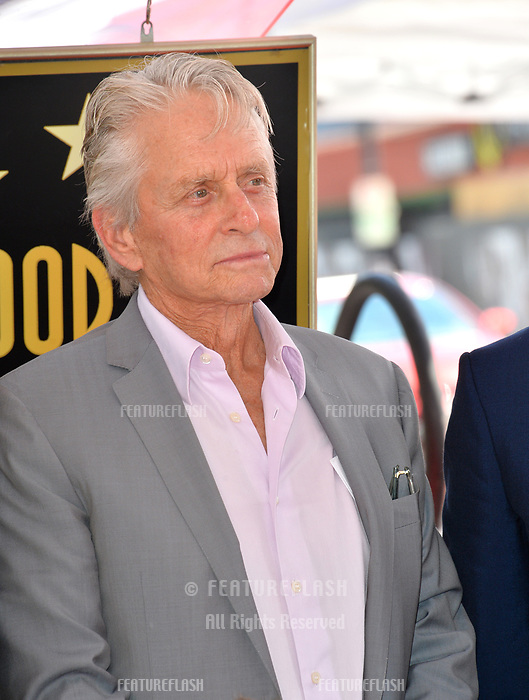 "LOS ANGELES, CA. September 13, 2018: Michael Douglas at the Hollywood Walk of Fame Star Ceremony honoring ""Will & Grace"" star Eric McCormack."