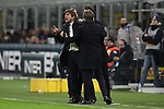 Antonio Conte Head coach of Inter reacts angrily towards the referee Gianpaolo Calvarese after being shown a yellow card during the Coppa Italia match at Giuseppe Meazza, Milan. Picture date: 12th February 2020. Picture credit should read: Jonathan Moscrop/Sportimage