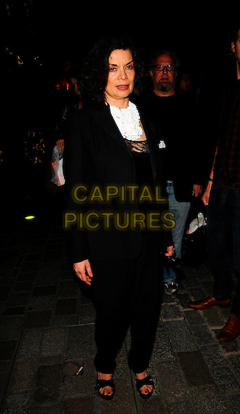 BIANCA JAGGER.The Royal Academy of Arts Summer Exhibition 2008 VIP preview party Burlington Gardens, London, England. .June 4th, 2008.full length black jacket trousers suit .CAP/CAN.©Can Nguyen/Capital Pictures.