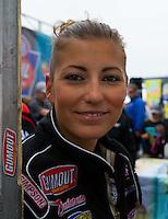 Aug 17, 2014; Brainerd, MN, USA; NHRA top fuel dragster driver Leah Pritchett during the Lucas Oil Nationals at Brainerd International Raceway. Mandatory Credit: Mark J. Rebilas-
