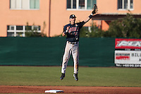 06 June 2010: Second base Luc Piquet of Rouen catches the ball during the 2010 Baseball European Cup match won 10-8 by the Rouen Huskies over AVG Draci Brno, at the AVG Arena, in Brno, Czech Republic.