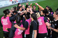 The Black Ferns huddle before the 2017 International Women's Rugby Series rugby match between the NZ Black Ferns and Canada at Westpac Stadium in Wellington, New Zealand on Friday, 9 June 2017. Photo: Dave Lintott / lintottphoto.co.nz