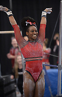 Arkansas' Hailey Garner competes Friday, Feb. 7, 2020, in the bars portion of the Razorbacks' meet with Georgia in Barnhill Arena in Fayetteville. Visit  nwaonline.com/gymbacks/ for a gallery from the meet.<br /> (NWA Democrat-Gazette/Andy Shupe)