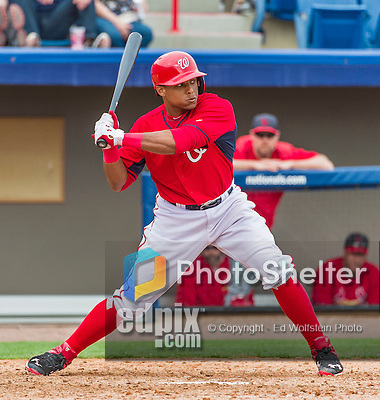 7 March 2015: Washington Nationals infielder Wilmer Difo in Spring Training action against the St. Louis Cardinals at Space Coast Stadium in Viera, Florida. The Nationals rallied to defeat the Cardinals 6-5 in Grapefruit League play. Mandatory Credit: Ed Wolfstein Photo *** RAW (NEF) Image File Available ***
