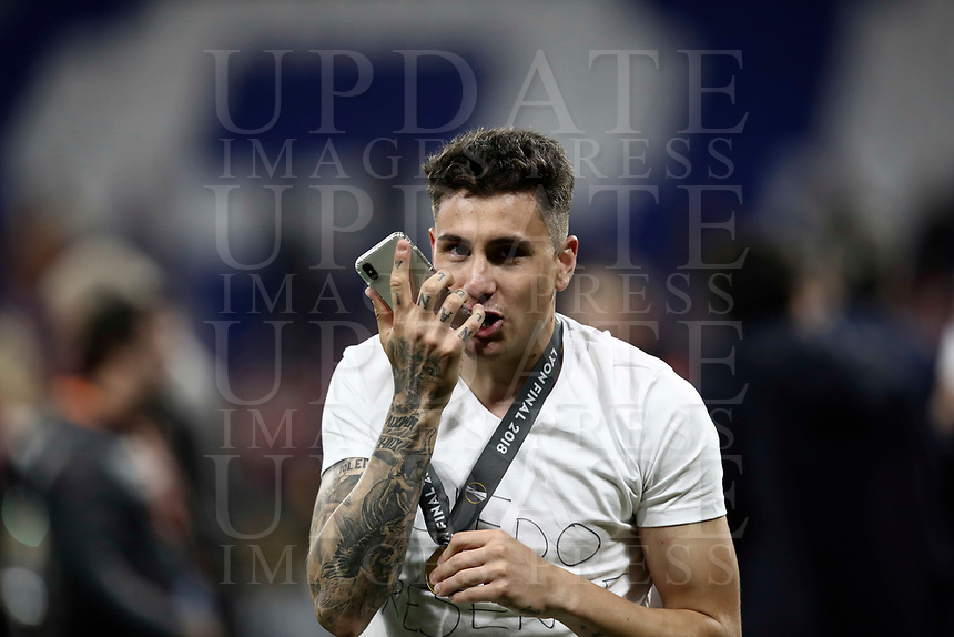 Club Atletico de Madrid's Jose' Maria Gimenez speaks on the phone at the end of the UEFA Europa League final football match between Olympique de Marseille and Club Atletico de Madrid at the Groupama Stadium in Decines-Charpieu, near Lyon, France, May 16, 2018. Club Atletico de Madrid won 3-0.<br /> UPDATE IMAGES PRESS/Isabella Bonotto