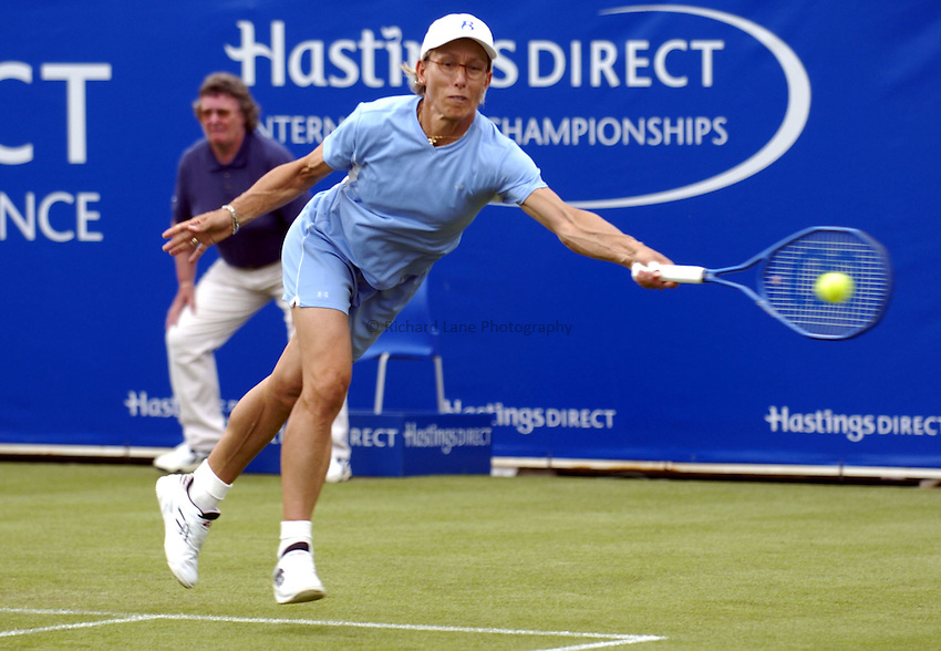 Photo: Richard Lane..Hastings Direct International Championship at Eastbourne. 15/06/2004..Martina Navratilova returns during a doubles match.