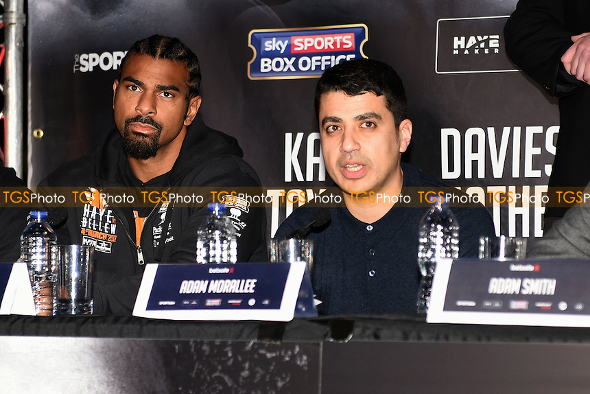 Adam Morallee speaks during a Matchroom Boxing Press Conference at The O2 on 2nd March 2017