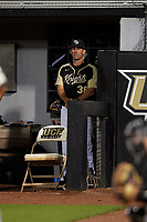 UCF Knights head coach Greg Lovelady (38) during a game against the Siena Saints on February 14, 2020 at John Euliano Park in Orlando, Florida.  UCF defeated Siena 2-1.  (Mike Janes/Four Seam Images)