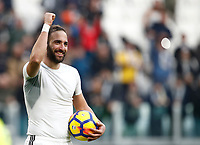 Calcio, Serie A: Juventus - Sassuolo, Torino, Allianz Stadium, 4 Febbraio 2018. <br /> Juvemtu's Gonzalo Higuain celebrates after winning 7-0 the Italian Serie A football match between Juventus and Sassuolo at Torino's Allianz stadium, February 4, 2018.<br /> UPDATE IMAGES PRESS/Isabella Bonotto