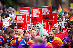 © Joel Goodman - 07973 332324 . 27/08/2016 . Manchester , UK . Stonewall . Annual Pride Parade through Manchester City Centre as part of Manchester Gay Pride's Big Weekend . Photo credit : Joel Goodman