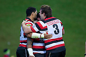 Jono Owen congratulates Fritz Lee on scoring the Steelers first try. ITM Cup rugby game between Counties Manukau and Manawatu played at Bayer Growers Stadium on Saturday August 21st 2010..Counties Manukau won 35 - 14 after leading 14 - 7 at halftime.