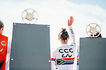 Ashleigh Moolman Pasio (RSA) CCC-Liv at team presentation before the 2019 Liège-Bastogne-Liège Femmes,  running 138.5km from Bastogne to Liege, Belgium. 27th April 2019<br /> Picture: ASO/Thomas Maheux | Cyclefile<br /> All photos usage must carry mandatory copyright credit (© Cyclefile | ASO/Thomas Maheux)