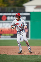 Auburn Doubledays right fielder Jacob Rhinesmith (18) leads off first base during a game against the Batavia Muckdogs on September 3, 2018 at Dwyer Stadium in Batavia, New York.  Auburn defeated Batavia 8-5.  (Mike Janes/Four Seam Images)