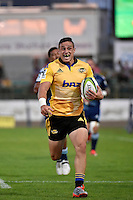 TJ Perenara in action during the Super Rugby - Hurricanes v Blues at FMG Stadium, Palmerston North, New Zealand on Friday 13 March 2015. <br /> Photo by Masanori Udagawa. <br /> www.photowellington.photoshelter.com.