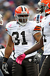 11 October 2009: Cleveland Browns' running back Jamal Lewis returns to the huddle during a game against the Buffalo Bills at Ralph Wilson Stadium in Orchard Park, New York. The Browns defeated the Bills 6-3 for Cleveland's first win of the season...Mandatory Photo Credit: Ed Wolfstein Photo