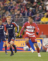 FC Dallas midfielder Andre Rocha (11) controls a pass. The New England Revolution defeated FC Dallas, 2-1, at Gillette Stadium on April 4, 2009. Photo by Andrew Katsampes /isiphotos.com
