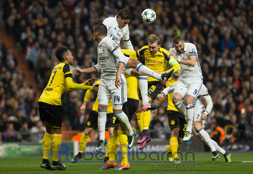 Real Madrid's French defense Raphael Varane during the UEFA Champions League match between Real Madrid and Borussia Dortmund at the Santiago Bernabeu Stadium in Madrid, Tuesday, December 7, 2016.