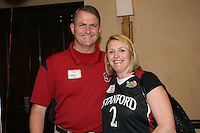 SAN ANTONIO, TX - APRIL 4:  Guests gather at a rally before Stanford's 73-66 win over Oklahoma in the Final Four semi-finals at the Alamo Dome on April 4, 2010 in San Antonio, Texas. Pictured are Jayne Appel's parents.