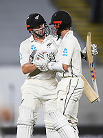 Henry Nicholls and Kane Williamson at the end of play on Day 1.<br /> New Zealand Blackcaps v England. 1st day/night test match. Eden Park, Auckland, New Zealand. Day 1, Thursday 22 March 2018. &copy; Copyright Photo: Andrew Cornaga / www.Photosport.nz