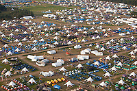 Helicopter-photage of subcamp Autumn, taken from south-west. Photo: Kim Rask/Scouterna