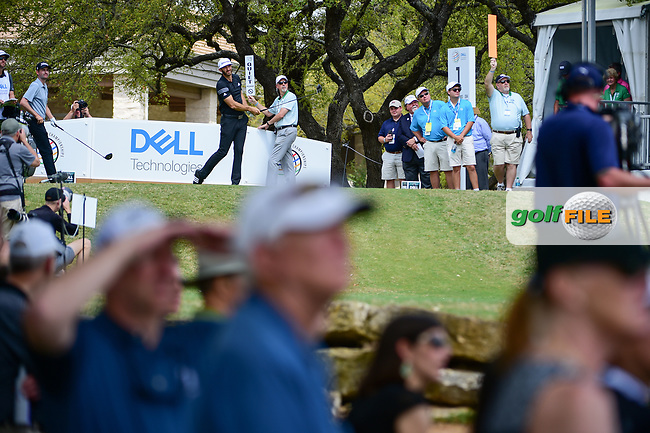 Dustin Johnson (USA) watches his tee shot on 1 during round 1 of the World Golf Championships, Dell Technologies Match Play, Austin Country Club, Austin, Texas, USA. 3/22/2017.<br /> Picture: Golffile | Ken Murray<br /> <br /> <br /> All photo usage must carry mandatory copyright credit (&copy; Golffile | Ken Murray)