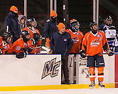 William O'Neill (SSU - Head Coach) wasn't happy with something related to the Beacons' goal. - The University of Massachusetts Boston Beacons defeated the Salem State University Vikings 4-2 (EN) on Tuesday, January 7, 2014, at Fenway Park in Boston, Massachusetts.