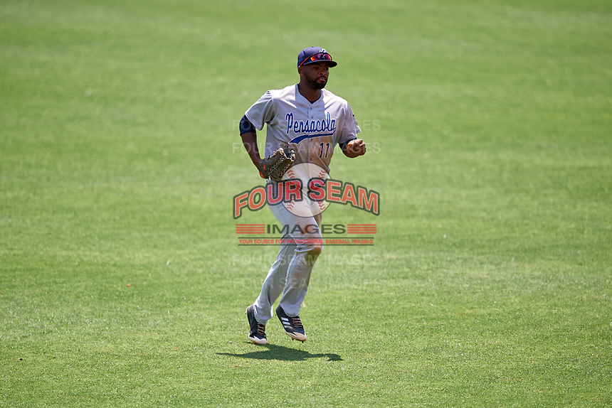 Pensacola Blue Wahoos center fielder Daniel Sweet (11) jogs off the field during a game against the Birmingham Barons on May 9, 2018 at Regions Field in Birmingham, Alabama.  Birmingham defeated Pensacola 16-3.  (Mike Janes/Four Seam Images)