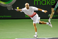 24 March 2010:  James Blake (USA) stretches out in an effort to return a shot during his first round match against Filip Krajinovic (SRB) at the Sony Ericsson Open at the Tennis Center at Crandon Park in Key Biscayne, Florida.  Blake won, 6-7 (6), 6-4, 6-4.