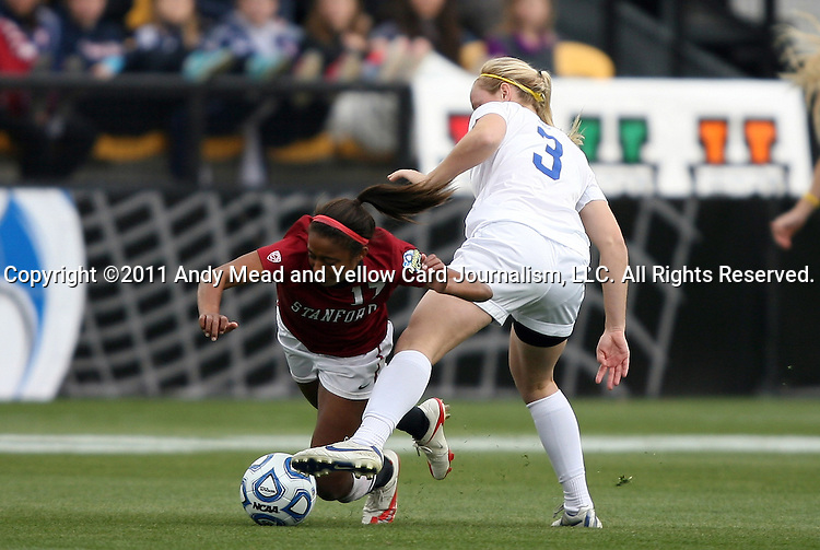 04 December 2011: Stanford's Lindsay Taylor (17) and Duke's Libby Jandl (3). The Stanford University Cardinal played the Duke University Blue Devils at KSU Soccer Stadium in Kennesaw, Georgia in the NCAA Division I Women's Soccer College Cup Final.