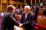UTRECHT - KNHB voorzitter Jan Albers met Jan Bart Wilschut (l)  tijdens  Hockeycongres bij de Rabobank in Utrecht. FOTO KOEN SUYK