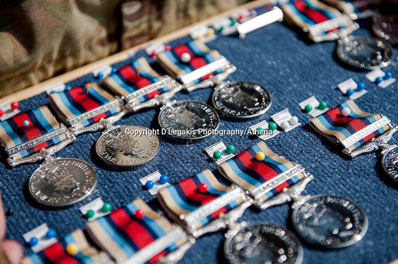 Wednesday 26 March 2014<br /> Pictured: Medals ready for presentation<br /> Re: 236 Signal Squadron ( part of 14 Signal regiment who are based at Cawdor Barracks in Brawdy Parade through the streets of  St.Davids Pembrokeshire led by Haverfordwest Air Training Corps Band and are then Presented with medals