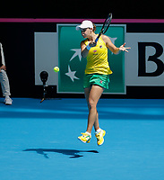 9th November 2019; RAC Arena, Perth, Western Australia, Australia; Fed Cup by BNP Paribas Tennis Final, Day 1, Australia versus France; Ash Barty of Australia plays a forehand shot against Caroline Garcia of France during the second rubber